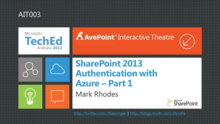 SharePoint 2013 Authentication with Azure – Part I